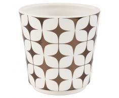 Cache-pot en céramique motifs blancs et cuivrés H13