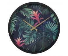 Horloge noire imprimé tropical