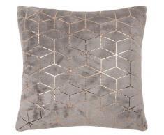 Coussin gris à motifs graphiques dorés 40x40