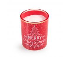 Bougie lumignon de Noël en verre imprimé rouge