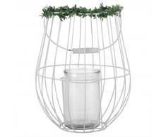 Lanterne en métal blanc et verre avec plantes artificielles