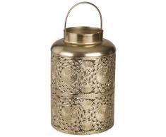 Lanterne en métal ajouré doré