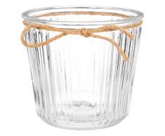 Cache-pot en verre strié H12