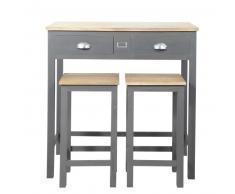 Table haute de salle à manger haute + 2 tabourets en bois L 90 cm Chablis