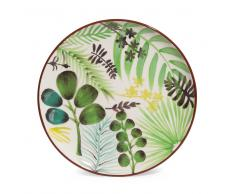 Assiette à dessert motif végétal en faïence D 21 cm JUNGLE