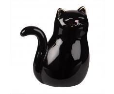Statuette chat en céramique noire H16