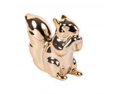 Statuette écureuil en porcelaine dorée H5