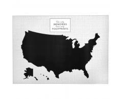 Sticker mural carte du monde noir et blanc