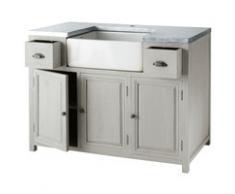 Meuble bas de cuisine avec évier en bois d'acacia gris L 120 cm Zinc