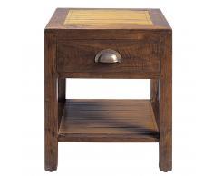 Table de chevet avec tiroir en teck massif L 40 cm Bamboo