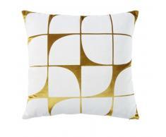 Coussin en velours doré motifs graphiques blancs 45x45