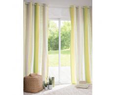 Rideau à œillets en coton vert/jaune 110 x 250 cm MALAJAYA
