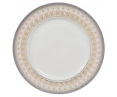 Assiette plate en porcelaine blanche à motifs