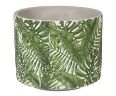 Cache-pot en céramique imprimé feuillage vert H13