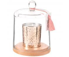 Bougie parfumée dorée sous cloche en verre