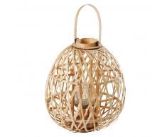 Lanterne en bambou tressé coloris naturel