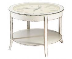 Table basse ronde horloge en verre et bois blanc vieilli D 72 cm Teatime