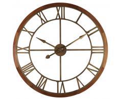 Horloge en sapin et métal effet bronze D.90cm MONTANA