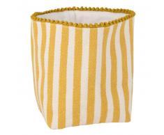 Corbeille à pain en coton jaune et blanc motifs à rayures