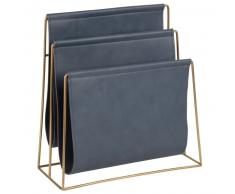 Porte-revues bleu gris et métal doré