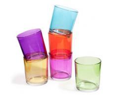 6 verres à eau en verre multicolores GIPSY