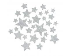 Sachet de 30 stickers étoiles à paillettes argentées