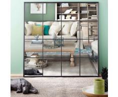 Miroir fenêtre en métal noir 122x122