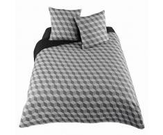 Parure de lit 220 x 240 cm en coton blanche/grise CUBIC