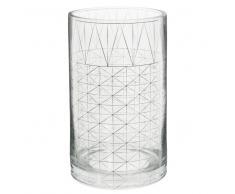 Vase motif graphique en verre H 20 cm DESSIN