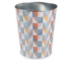 Corbeille à papier motif triangles en métal VINTAGE