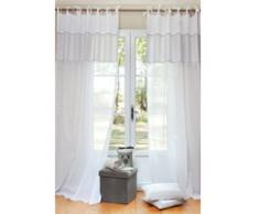 Rideau à nouettes en coton blanc 140 x 250 cm COTON D'AUTREFOIS