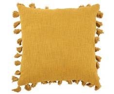 Coussin à pompons en coton jaune 50x50