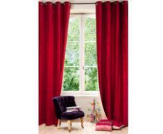 Rideau à œillets double face en velours lin rouge et beige 140 x 300 cm