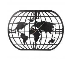 Horloge carte du monde en métal noir mat