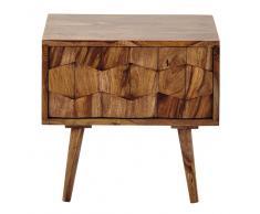 Table de chevet avec tiroir en bois de sheesham massif L 45 cm Quadra