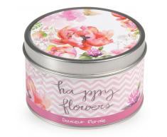 Bougie parfumée douceur florale en métal D 8 cm