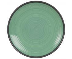 Assiette plate en faïence verte
