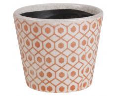 Cache-pot en céramique blanc et terracotta H12