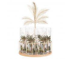 Support palmier en métal avec 6 chopes en verre imprimé palmier