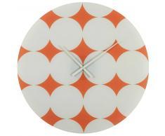 Horloge en verre orange motifs blancs D.70cm RETRO POP