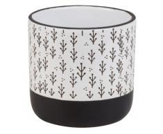 Cache-pot en céramique blanche et noire à motifs H13