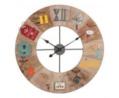 Horloge en métal et bois D 70 cm SMITH & SONS
