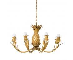 Lustre ananas en métal doré
