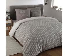 Parure de lit 220 x 240 cm en coton grise KIMONO