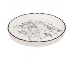 Plat à tarte en faïence imprimé floral