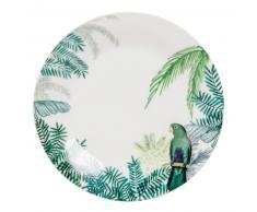 Assiette à dessert en porcelaine imprimé tropical PERROQUET