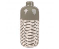 Vase en céramique taupe motifs graphiques H30