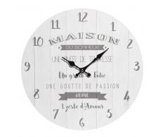 Horloge blanche D.34cm MAISON DU BONHEUR