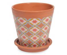Cache-pot en terre cuite motifs multicolores H.13cm ROSARIO