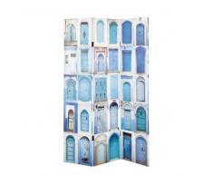 Paravent imprimé en bois bleues L 120 cm GABES
